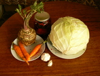 Печени червени чушки с моркови и карфиол