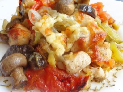 Запечени зеленчуци с пилешко филе