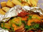 Риба във фолио със зеленчуци
