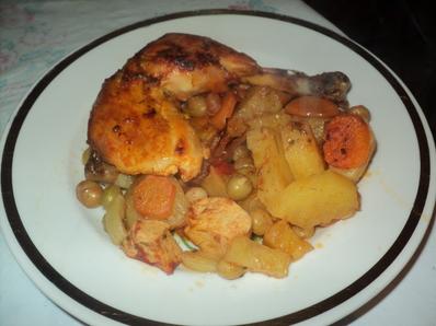 Пиле със зеленчуци