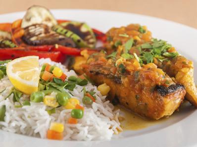 Сьомга с ориз басмати