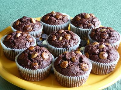 Шоколадови мъфини с бадеми
