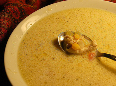 Пилешка супа с царевица и сметана