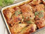 Запечено пилешко с кайсиев сос