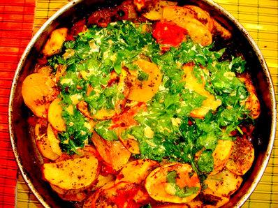 Печени пресни картофи с тиквички