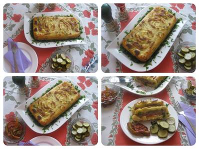 Картофен кекс с кайма и червени чушки