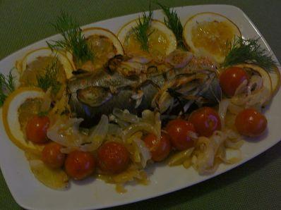 Дива печена пъстърва със зеленчуци