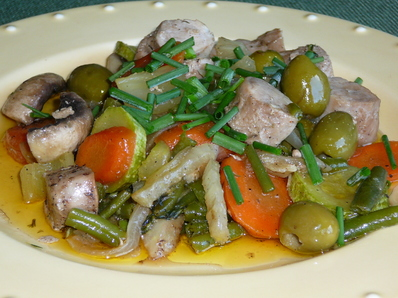 Свинско бон филе със зеленчуци