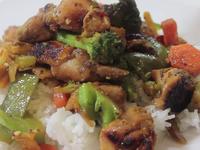 Медено пилешко със зеленчуци