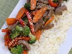 Телешко със зеленчуци на тиган