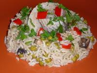 Солена херинга върху ориз