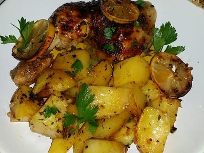 Пиле с мед и лимон