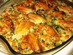 Пилешки крилца с пъстър ориз