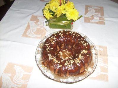 Кекс  с ябълки, шоколад и орехи